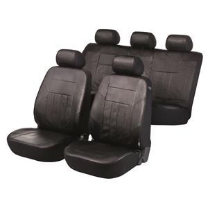 Seat Covers, Walser Premium SoftNappa Car Seat Cover Set - Black Artificial Leather For Mercedes GL-CLASS 2012 Onwards, Walser