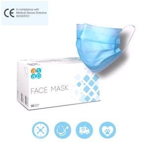 Face Masks, ASAP Medical Face Mask Ear Loops, 3ply, Type IIR - Box of 50, ASAP Innovations
