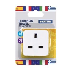 Travel Accessories, European Travel Adaptor - Single pack, STATUS