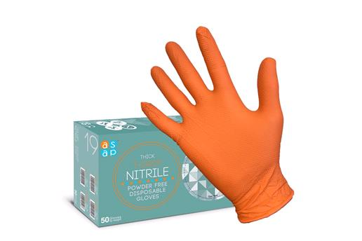 Gloves, GRIP Gloves Thick Orange T-Grip Nitrile Disposable Gloves (50) - Medium, ASAP Innovations