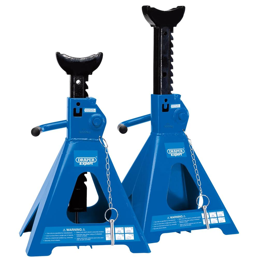 Draper 01814 Pair of Pneumatic Rise Ratcheting Axle Stands 5 tonne