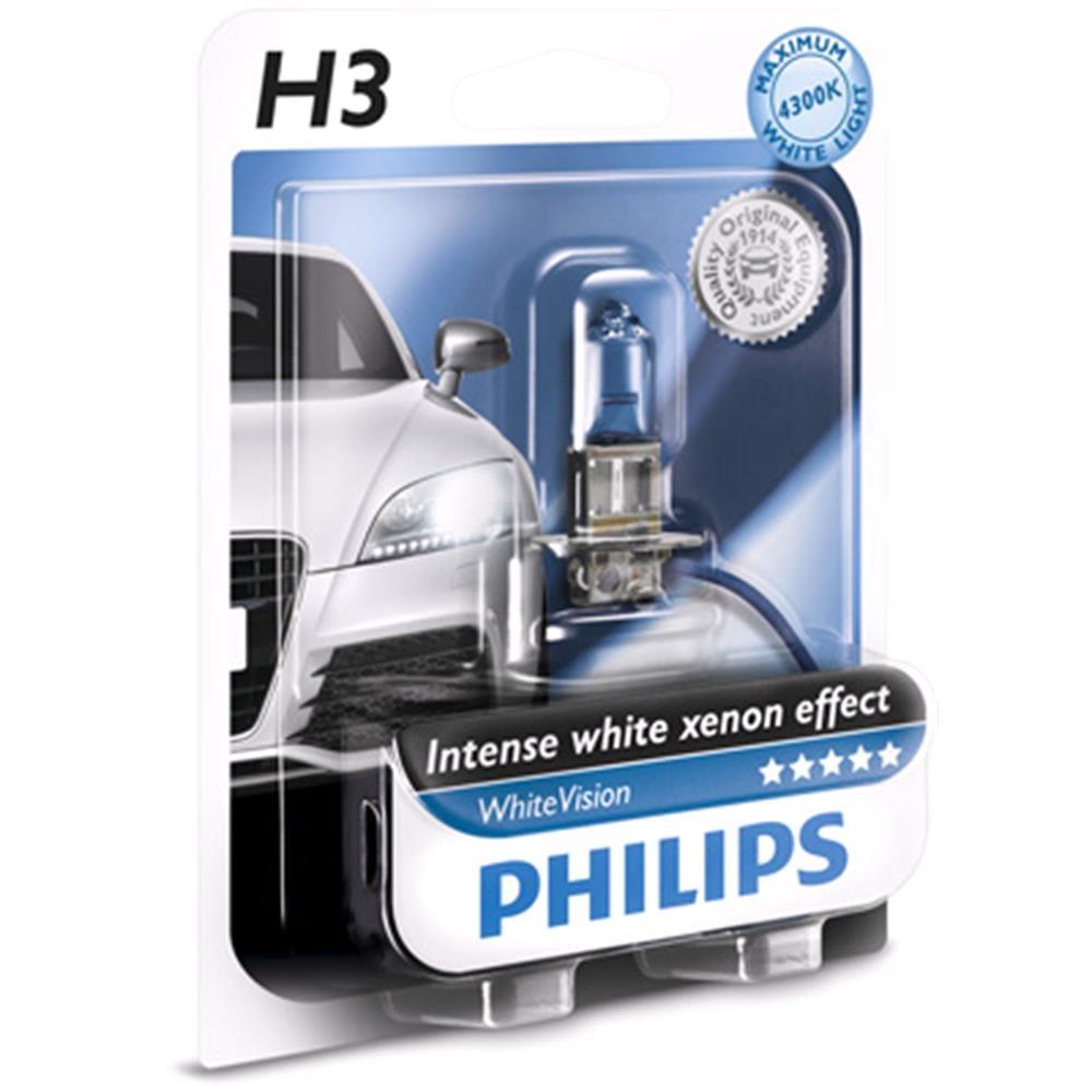 Philips WhiteVision H3 Upgrade Car Headlamp Bulb Single 12336WHVB1