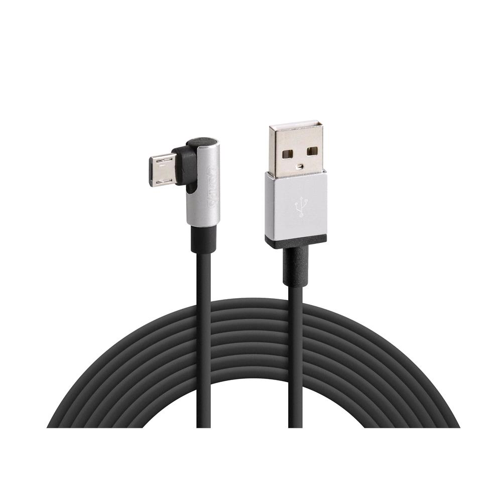 Micro uSB 90° Angle Charging Cable   200 cm   Black