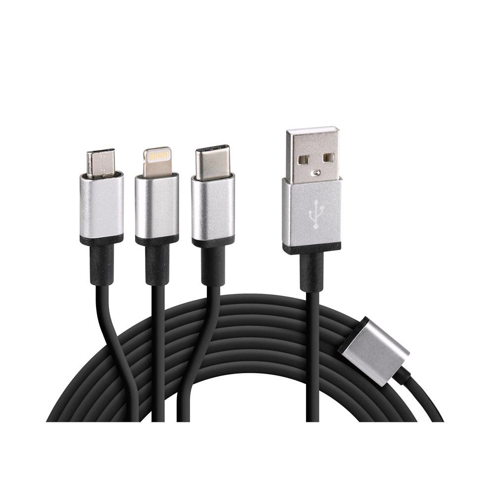 3 Device Cable   Apple Lightning, uSB C, Micro uSB   100 cm   Black