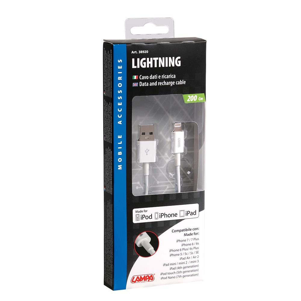 Apple Lightning Cable Fast Charge   200 cm   White