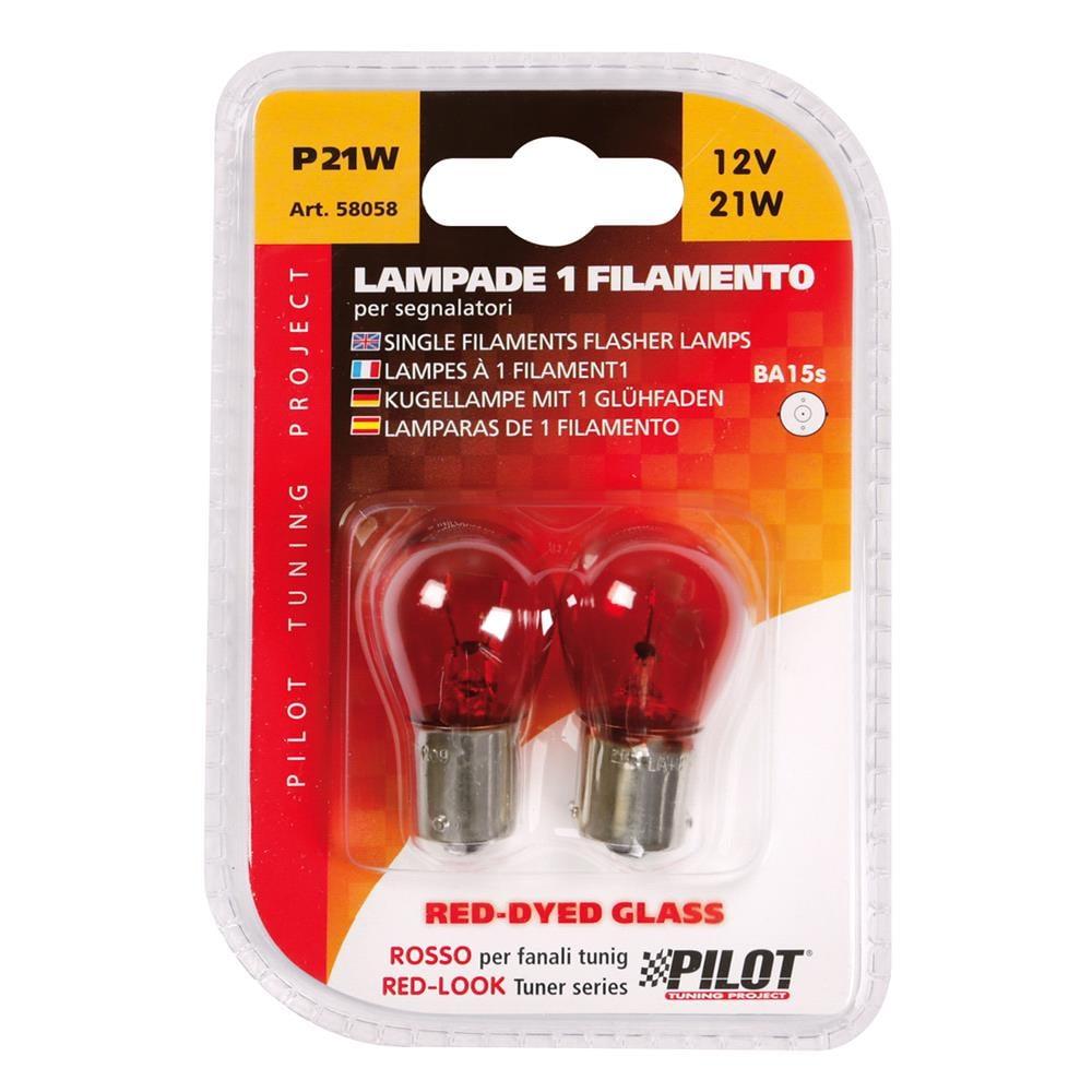 12V Red Dyed Glass, Single filament lamp   P21W   21W   BA15s   2 pcs    D/Blister