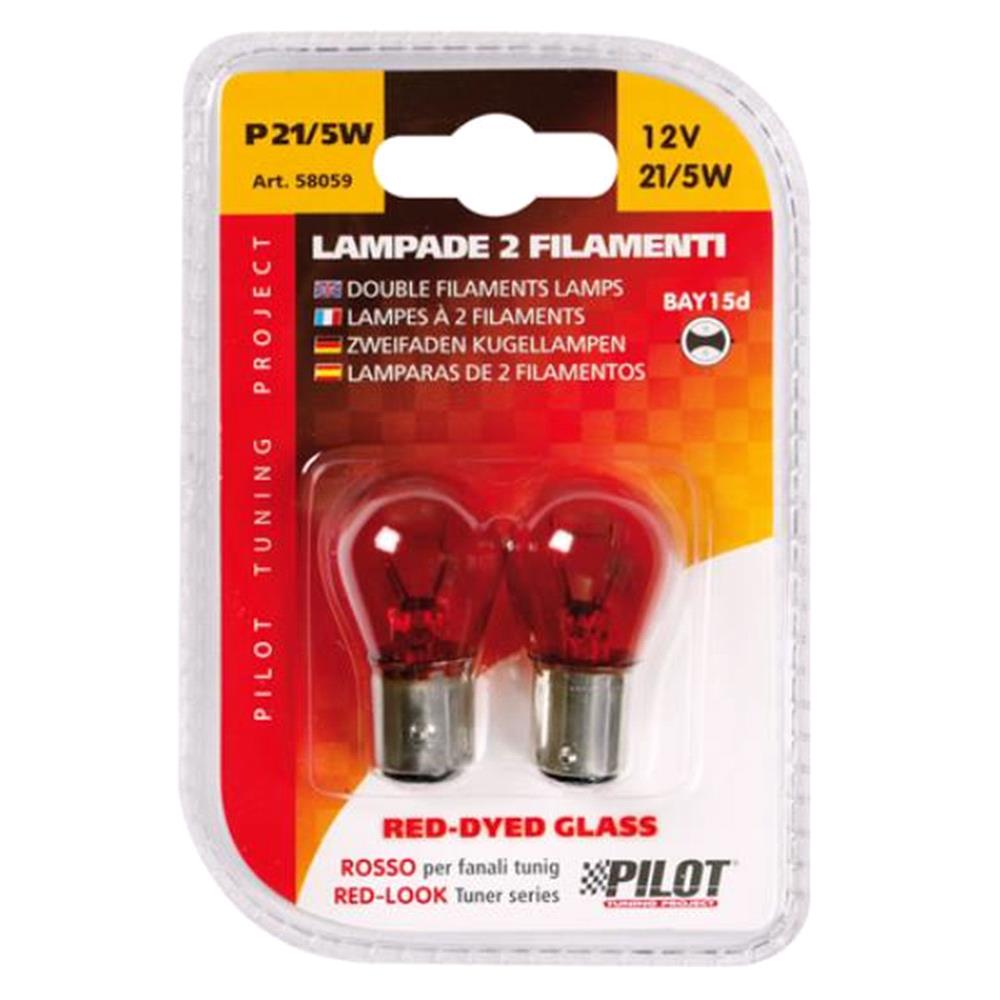 12V Red Dyed Glass, Double filament lamp   P21/5W   21/5W   BAY15d   2 pcs    D/Blister