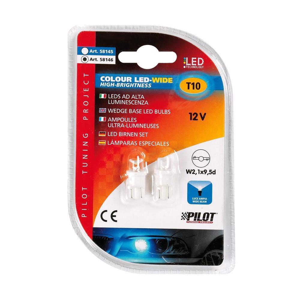 12V Colour Led Wide, lamp 1 Led   (T10)   W2,1x9,5d   2 pcs    D/Blister   White