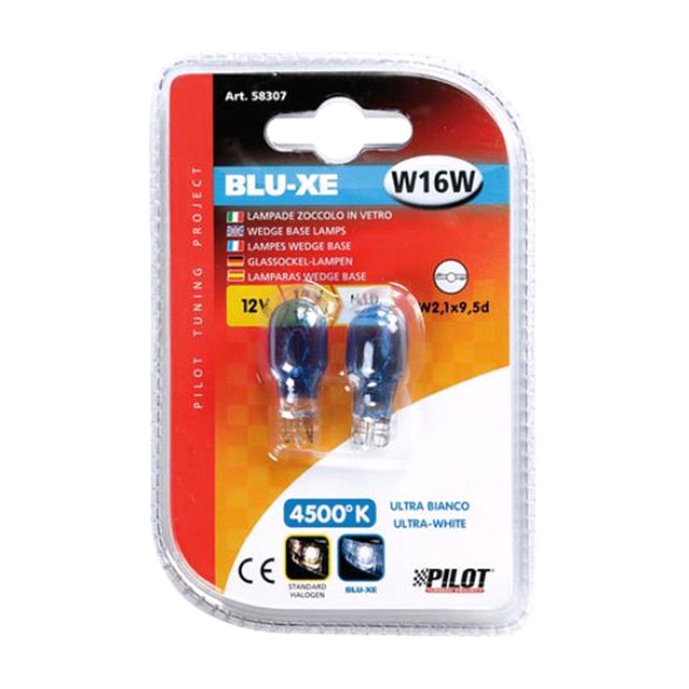 12V Blu Xe wedge base lamp   W16W   16W   W2,1x9,5d   2 pcs    D/Blister