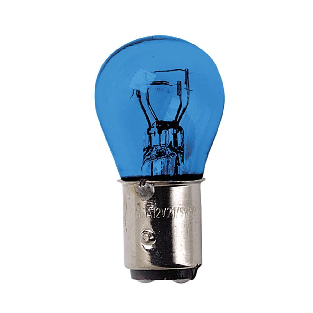 12V Blue Dyed Glass, double filament lamp   P21/5W   21/5W   BAY15d   2 pcs    D/Blister