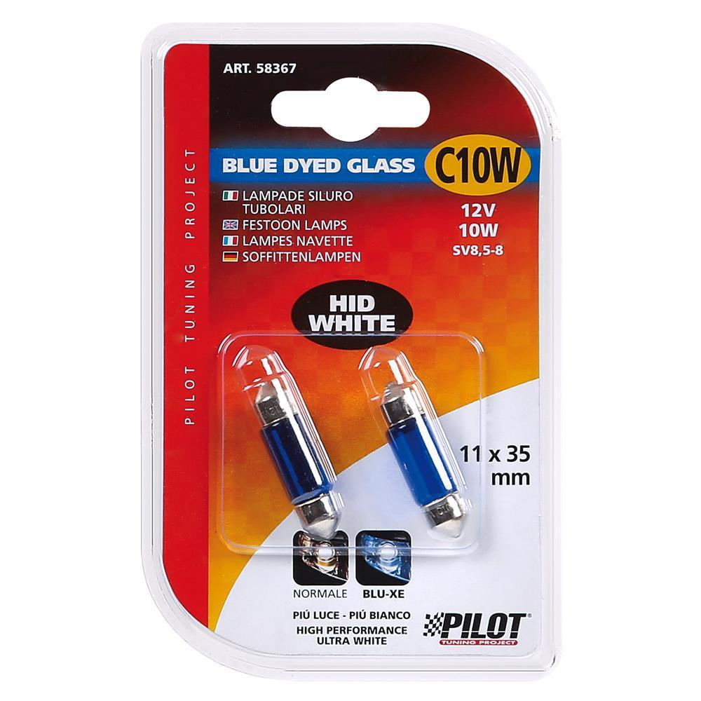 12V Blue Dyed Glass, festoon lamp   C10W   11x35 mm   10W   SV8,5 8   2 pcs    D/Blister