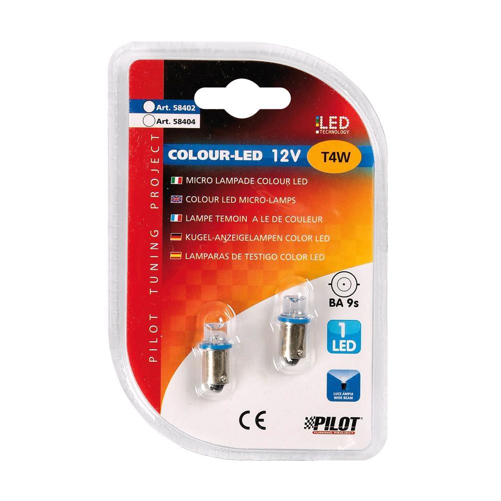 12V Micro lamp 1 Led   (T4W)   BA9s   2 pcs    D/Blister   Blue