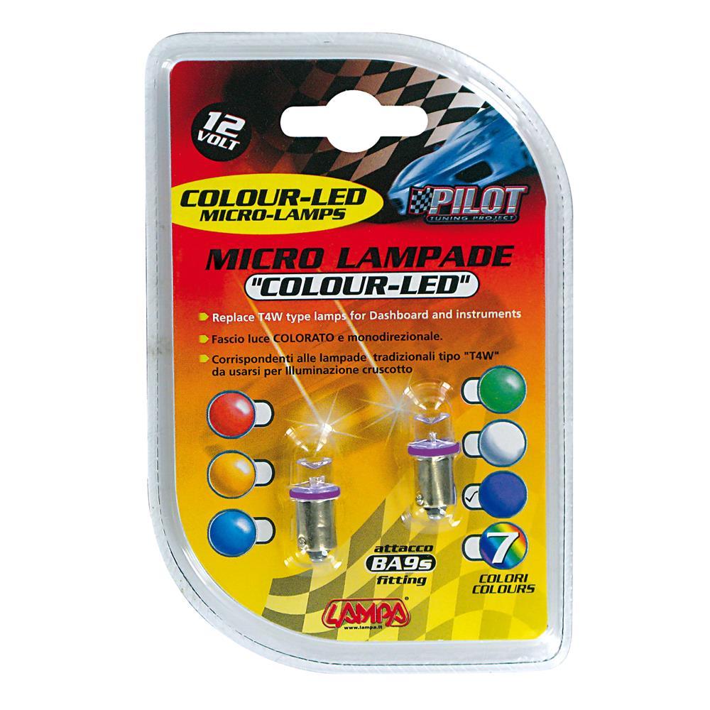 12V Micro lamp 1 Led   (T4W)   BA9s   2 pcs    D/Blister   Purple