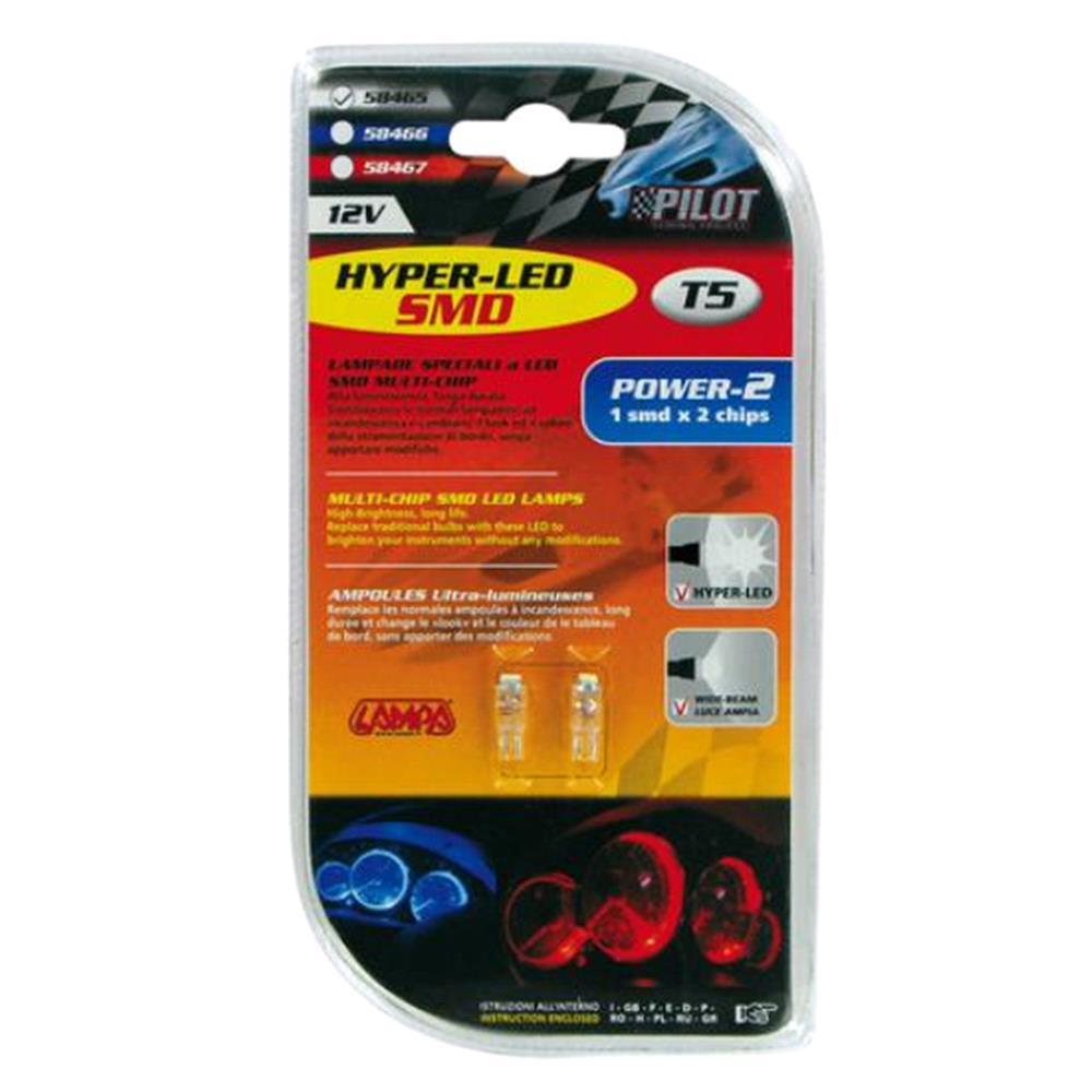 12V Hyper Led 2   1 SMD x 2 chips   (T5)   W2x4,6d   2 pcs    D/Blister   White