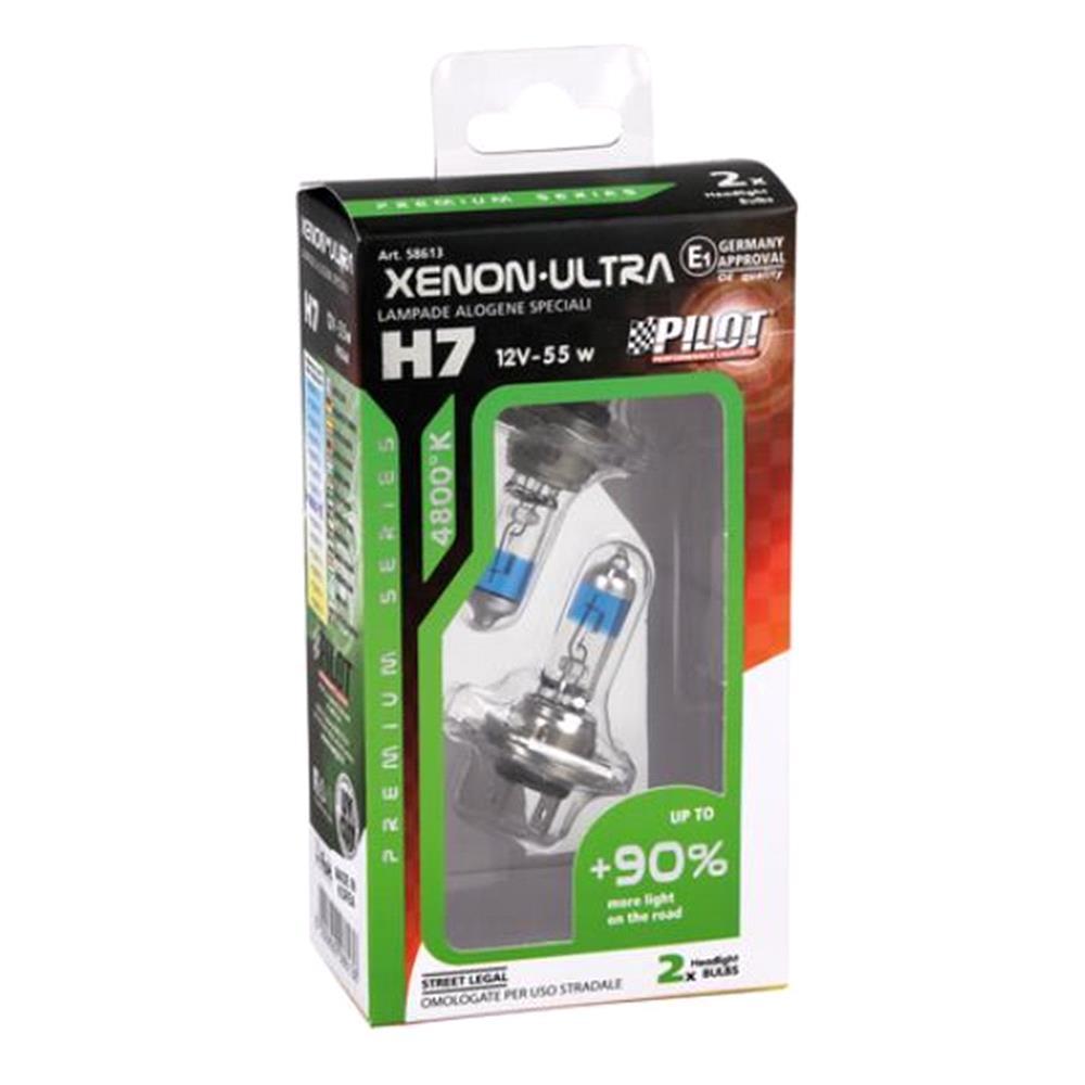 12V Xenon Ultra halogen lamp +90% light   H7   55W   PX26d   2 pcs    Box