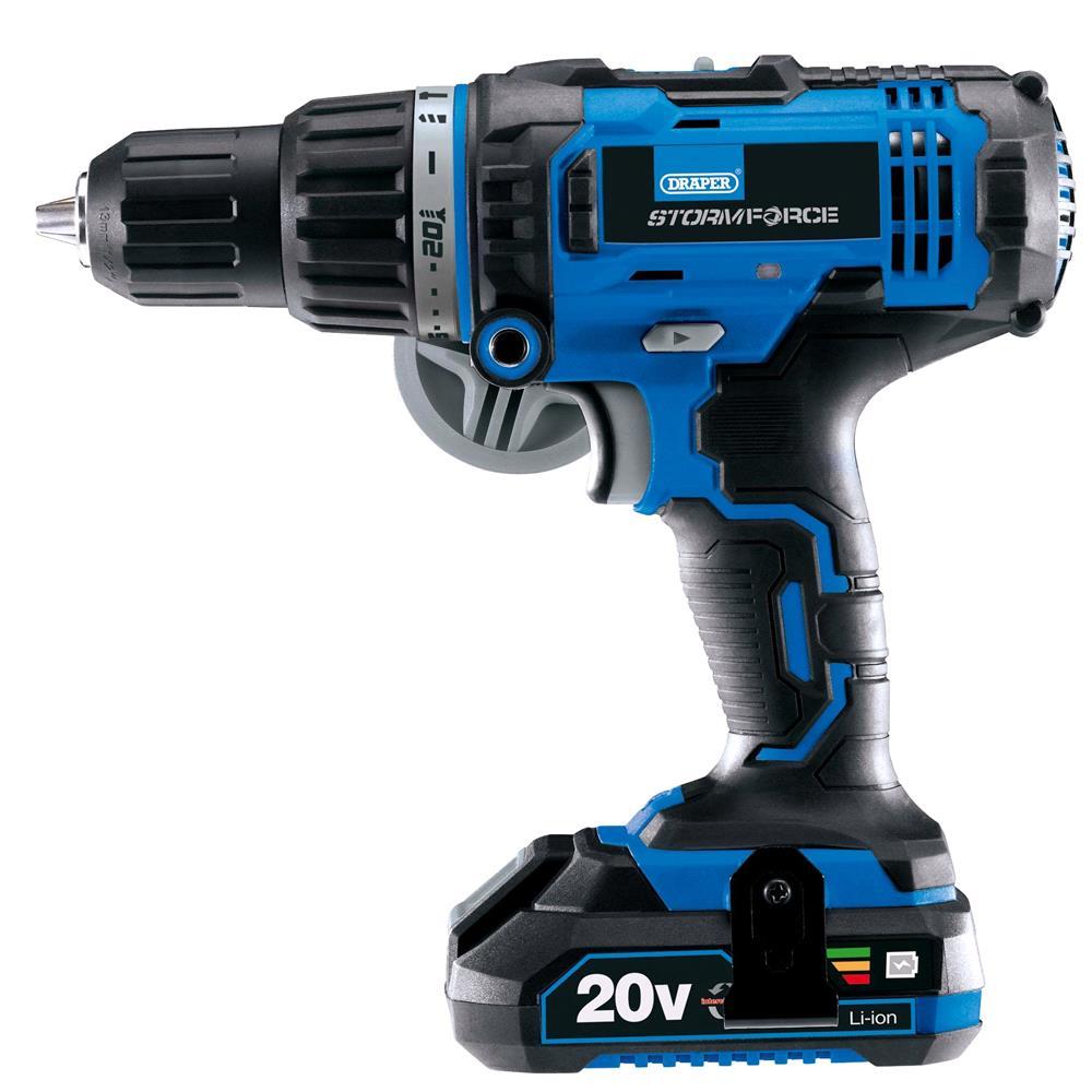 Draper 89523 Tools Stormforce 20V Combi Drill With 2 X 2.0Ah Batteries + Charger