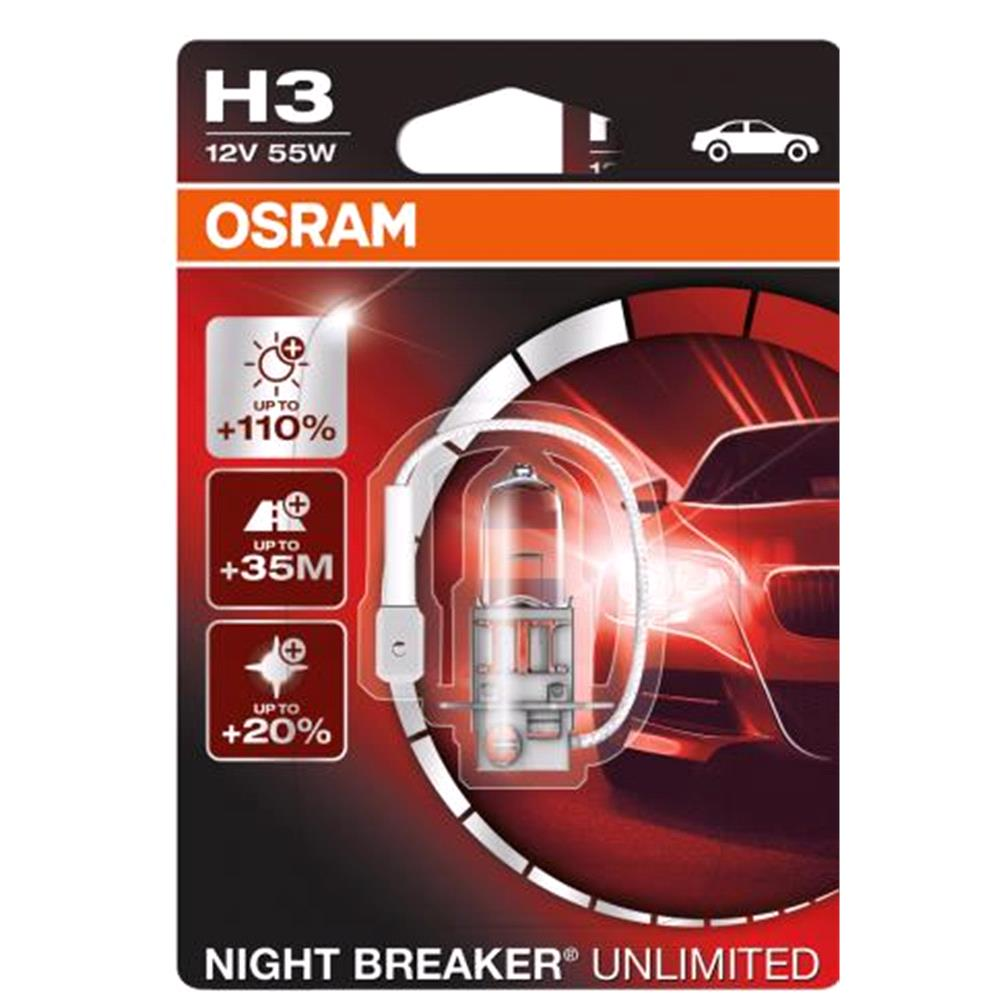 Osram Night Breaker Unlimited H3 Bulb    Single for Ssangyong MUSSO SPORTS, 2004 Onwards