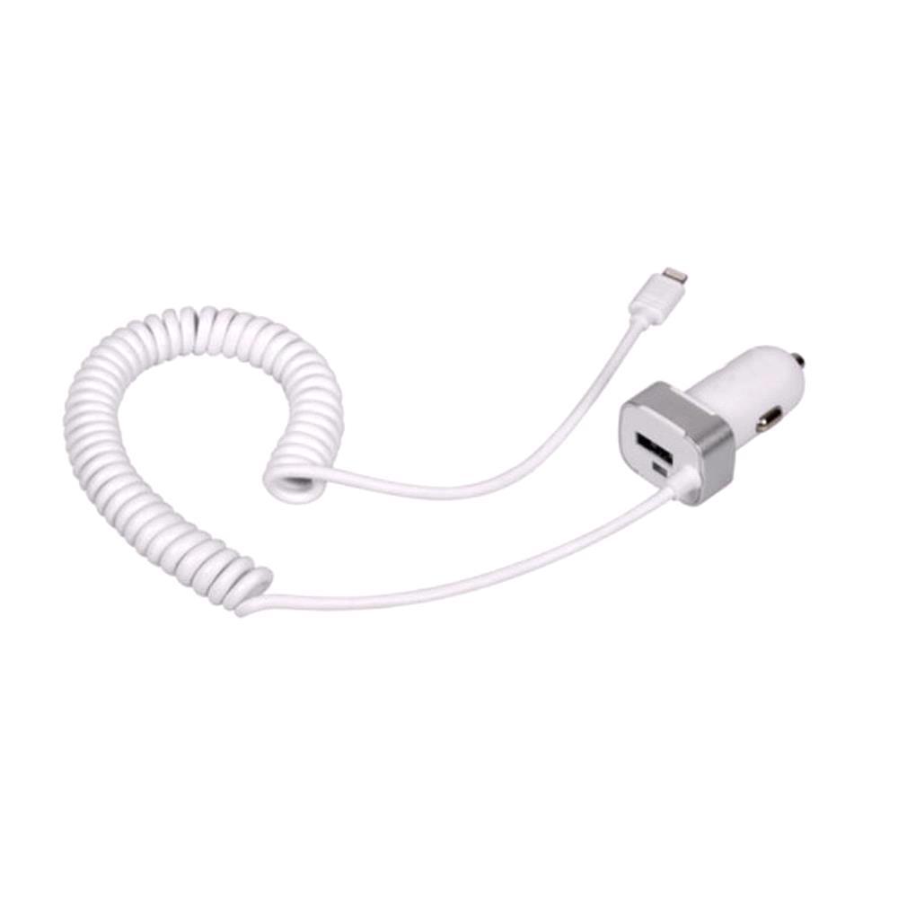 12V Apple Lightning Charger with USB Port   2400 mA