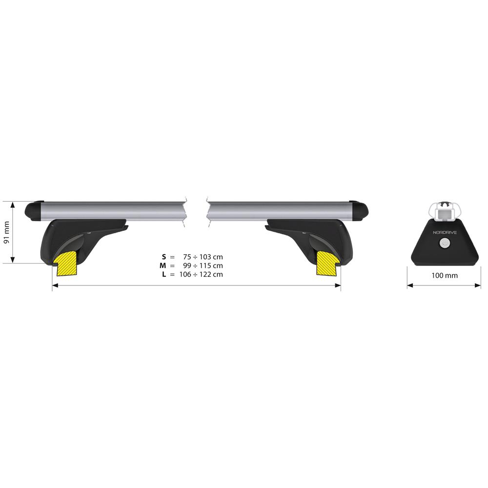 Aluminium Roof Bars For Hyundai TUCSON 2015 Onwards, with Solid Roof Rails